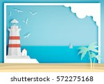 lighthouse with ocean... | Shutterstock .eps vector #572275168