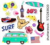 pop art fashion patches pins ... | Shutterstock .eps vector #572283820