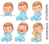 set with cute little baby boy... | Shutterstock .eps vector #572290498