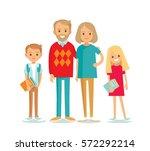 kids with grandparents | Shutterstock .eps vector #572292214
