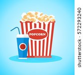pop corn in red box. flat... | Shutterstock .eps vector #572293240