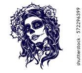 girl with skeleton make up hand ... | Shutterstock .eps vector #572296399