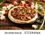 appetizing delicious pizza with ... | Shutterstock . vector #572296966