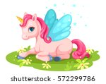 cute pink baby unicorn character | Shutterstock .eps vector #572299786