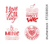 hand drawn lettering set. ... | Shutterstock .eps vector #572303014