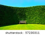 Garden Hedges With A Wooden...