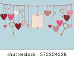red hearts and blank paper with ... | Shutterstock .eps vector #572304238