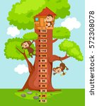 meter wall with tree house... | Shutterstock .eps vector #572308078