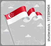 singapore flag wavy abstract...   Shutterstock .eps vector #572309404