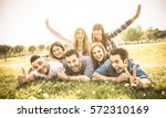 friends group having fun... | Shutterstock . vector #572310169