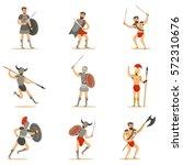 gladiators of roman empire era...   Shutterstock .eps vector #572310676