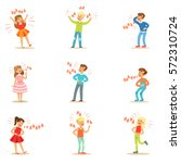 kids hysterically laughing out... | Shutterstock .eps vector #572310724
