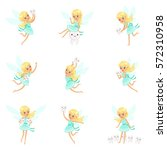 tooth fairy  blond little girl... | Shutterstock .eps vector #572310958