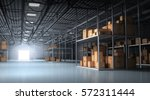 warehouse and boxes   3d... | Shutterstock . vector #572311444