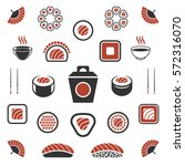 rolls and sushi icons  japan... | Shutterstock .eps vector #572316070