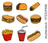 hot dog  burger  taco  sandwich ... | Shutterstock .eps vector #572319508