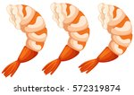 cooked shrimps on white... | Shutterstock .eps vector #572319874