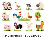 Stock vector big set isolated farm birds animals vector collection funny animals cute domestic animals in 572329960