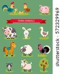 big set isolated farm birds ... | Shutterstock .eps vector #572329969