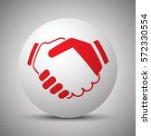red handshake agreement icon on ... | Shutterstock .eps vector #572330554