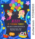 cute birthday invitation card... | Shutterstock .eps vector #572340310