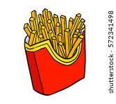 funny and yummy french fries  ... | Shutterstock .eps vector #572341498