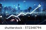 businessman touching digital... | Shutterstock . vector #572348794