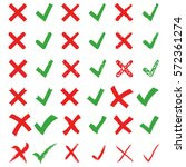red cross and green tick vector ...   Shutterstock .eps vector #572361274