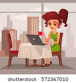 woman character work at laptop... | Shutterstock .eps vector #572367010