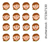 little girl face expression ... | Shutterstock .eps vector #572367130