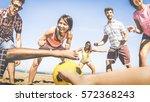 multiracial friends group...   Shutterstock . vector #572368243