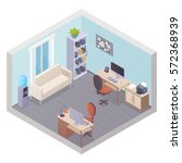 isometric office interior with... | Shutterstock .eps vector #572368939
