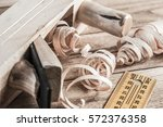 old wooden jointer ruler and... | Shutterstock . vector #572376358