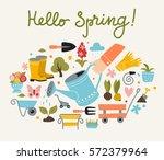 spring and gardening poster... | Shutterstock .eps vector #572379964