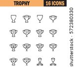 trophy flat icon set.... | Shutterstock .eps vector #572380330