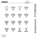 trophy flat icon set.... | Shutterstock .eps vector #572380360
