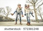 happy multiracial friends... | Shutterstock . vector #572381248