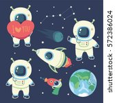 vector cartoon style cosmonaut  ... | Shutterstock .eps vector #572386024