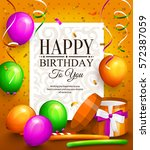happy birthday greeting card.... | Shutterstock .eps vector #572387059