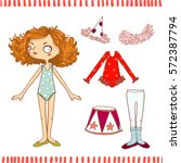 cute dress up paper doll.... | Shutterstock .eps vector #572387794