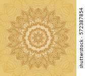 mandala card in yellow colors... | Shutterstock .eps vector #572387854