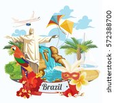 vector travel poster of brazil... | Shutterstock .eps vector #572388700