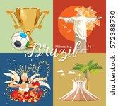 vector travel poster of brazil... | Shutterstock .eps vector #572388790