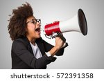 business black woman shouting... | Shutterstock . vector #572391358
