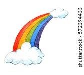 rainbow. watercolor... | Shutterstock . vector #572394433