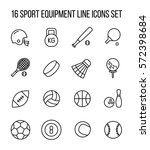 set of sport equipment icons in ... | Shutterstock .eps vector #572398684