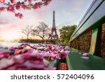 eiffel tower during spring time ... | Shutterstock . vector #572404096