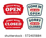 open and close sign of a shop... | Shutterstock .eps vector #572405884