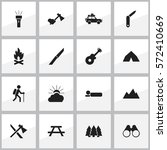 set of 16 editable travel icons.... | Shutterstock . vector #572410669