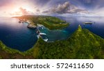aerial panorama of the rocky... | Shutterstock . vector #572411650